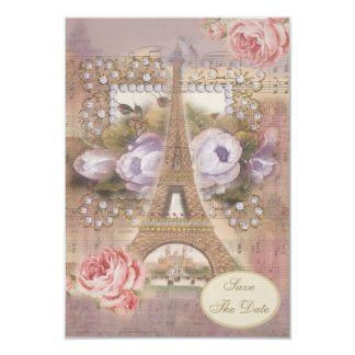 Shabby Chic Eiffel Tower Floral Save the Date 9 Cm X 13 Cm Invitation Card