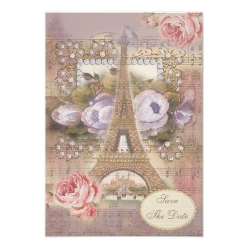 Shabby Chic Eiffel Tower Floral Save the Date Personalized Invitation