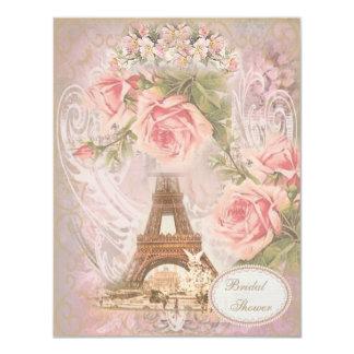 Shabby Chic Eiffel Tower Pink Floral Bridal Shower 11 Cm X 14 Cm Invitation Card