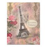 Shabby Chic Eiffel Tower & Roses Quinceanera 11 Cm X 14 Cm Invitation Card