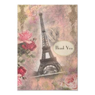 Shabby Chic Eiffel Tower & Roses Wedding Thank You 9 Cm X 13 Cm Invitation Card