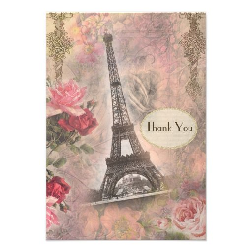 Shabby Chic Eiffel Tower & Roses Wedding Thank You Personalized Announcements