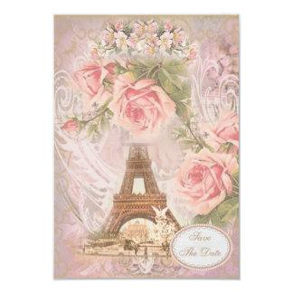 Shabby Chic Eiffel Tower Save the Date Wedding 9 Cm X 13 Cm Invitation Card