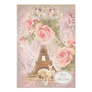 Shabby Chic Eiffel Tower Save the Date Wedding Card