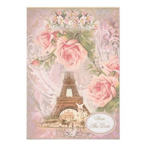 Shabby Chic Eiffel Tower Save the Date Wedding Personalized Announcement