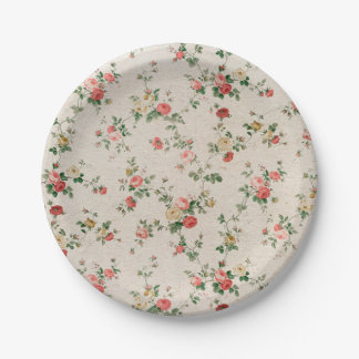 Shabby Chic Elegant Flower Floral 7 Inch Paper Plate