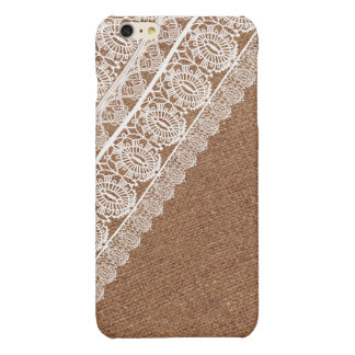 Shabby Chic Faux Burlap and Diagonal Lace iPhone 6 Plus Case