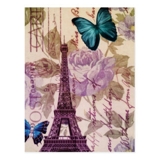 Shabby Chic Floral butterfly Paris Eiffel Tower Postcard