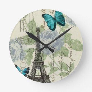 shabby chic floral  butterfly paris eiffel tower round clock