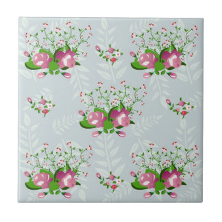 shabby chic, floral decoration small square tile