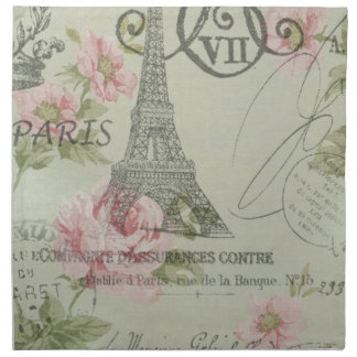 shabby chic floral french country eiffel tower napkin