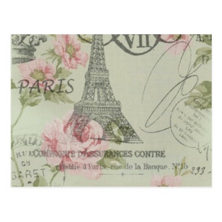 shabby chic floral french country eiffel tower postcard