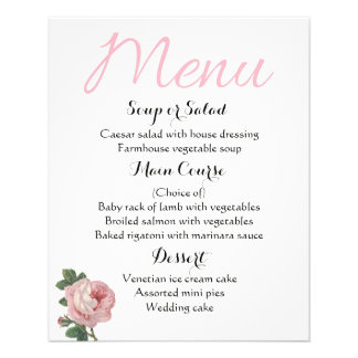 Shabby Chic Floral Menu Pink Rose Flowers Wedding