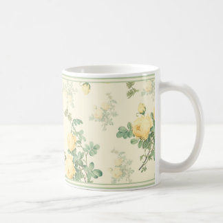Shabby chic floral mug yellow roses