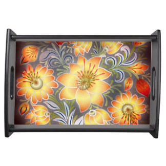 Shabby Chic Floral Orange Yellow Gold White tray Food Trays