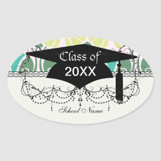 shabby chic floral ornate damask graduation stickers