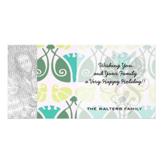 shabby chic floral ornate damask customized photo card
