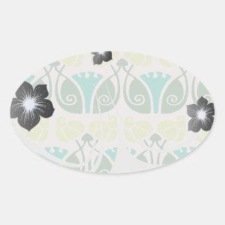 shabby chic floral ornate damask oval sticker