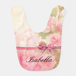 """Shabby Chic"" Floral Personalised Baby Bib"