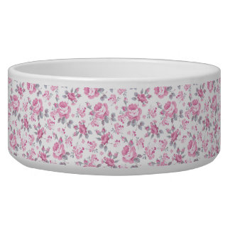 shabby chic floral, pink pattern,pale roses,white, dog food bowl
