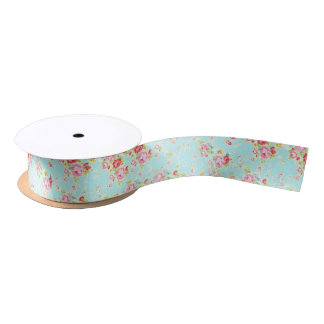 shabby chic floral rose ribbon satin ribbon