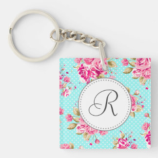 Shabby Chic Floral Roses Acrylic Key Chains