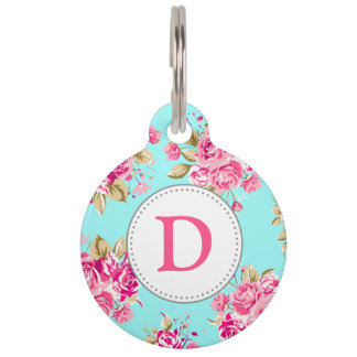 Shabby Chic Floral Roses Pet Name Tag