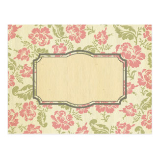 shabby chic,floral,vintage,pattern,coral,pink,chic postcard