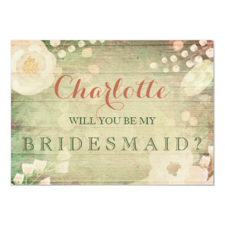 Shabby Chic Florals | Will You Be My Bridesmaid 13 Cm X 18 Cm Invitation Card