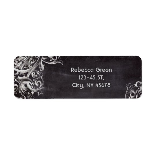 shabby chic flourish swirls chalkboard monogram return address label
