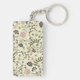 Shabby Chic Flower vintage Double-Sided Rectangular Acrylic Key Ring