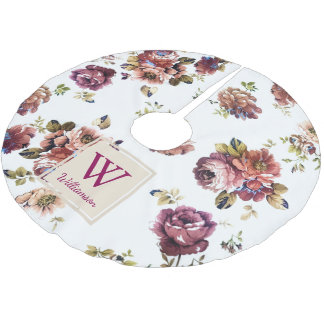 Shabby Chic Flowers on White - Personalized Brushed Polyester Tree Skirt