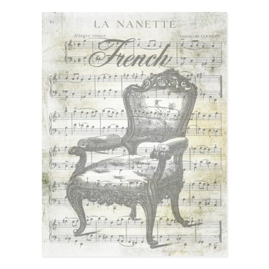 Shabby Chic French Music & Chair Postcard