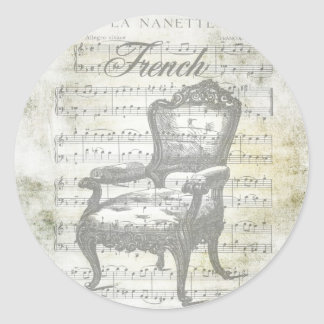 Shabby Chic French Music & Chair Round Sticker