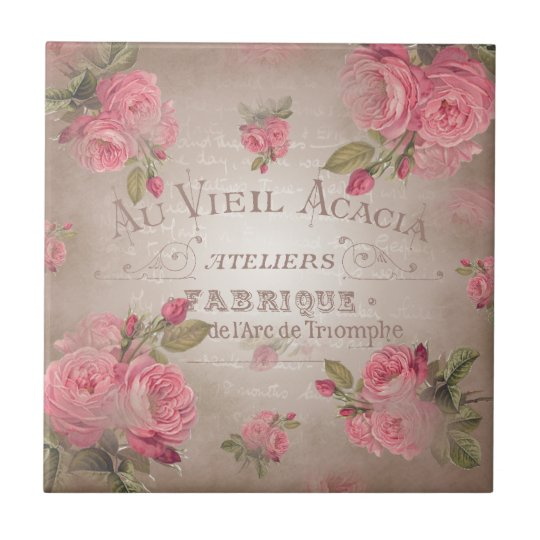 Shabby Chic french vintage roses pink floral rose