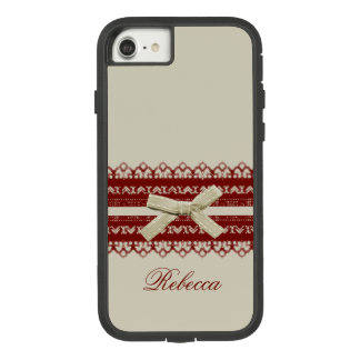 Shabby Chic Girl Kawaii Red Lace Beige Bow Case-Mate Tough Extreme iPhone 8/7 Case