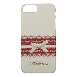 Shabby Chic Girl Kawaii Red Lace Beige Bow iPhone 7 Case
