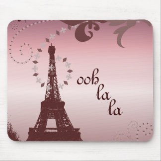 shabby chic girly paris pink eiffel tower mouse pad