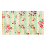 Shabby Chic Girly Red Green Roses Stripes Pattern