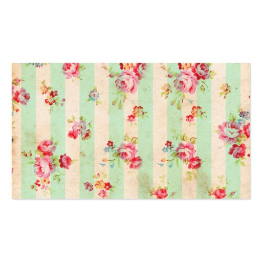 Shabby Chic Girly Red Green Roses Stripes Pattern Business Card Template
