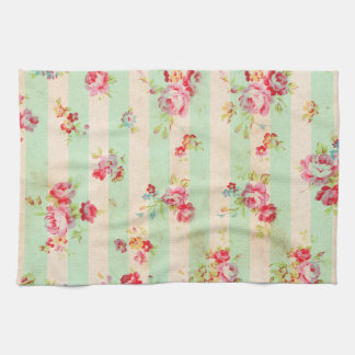 Shabby Chic Girly Red Green Roses Stripes Pattern Kitchen Towels