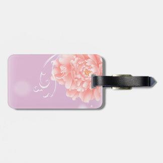 shabby chic girly swirls pink peony luggage tag