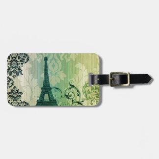 shabby chic green damask Paris Eiffel Tower Luggage Tag
