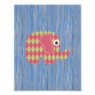 Shabby Chic Green Rose Harl Elephant, Blue Wood Photo Print