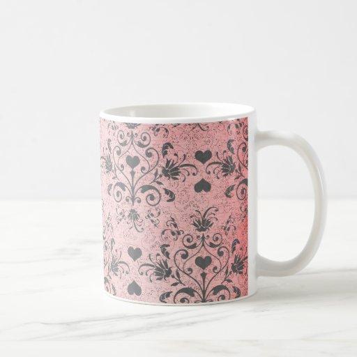 shabby chic grey heart swirl damask on grunge pink mugs