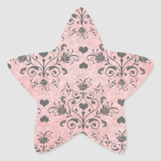 shabby chic grey heart swirl damask on grunge pink star sticker