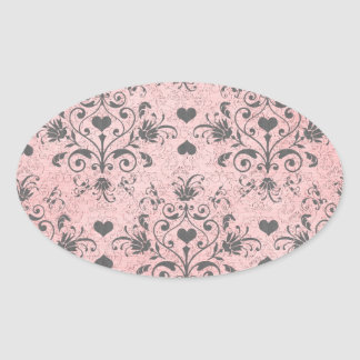 shabby chic grey heart swirl damask on grunge pink oval stickers