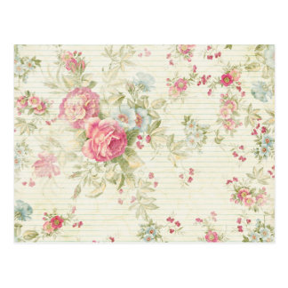 Shabby chic grunge pink floral pattern postcard
