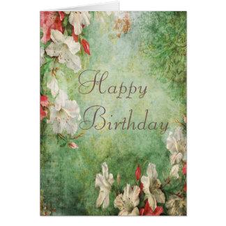 Shabby Chic Hibiscus Flowers Birthday Greeting Card