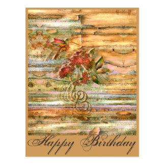 Shabby Chic Hummingbird Flight Birthday Postcard